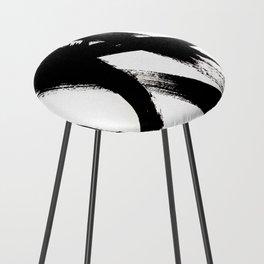 Brushstroke 2 - simple black and white Counter Stool