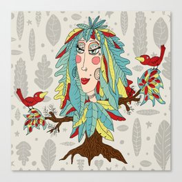 quirky bohemian boho tree, leaves and feather fantasy woman / girl Canvas Print