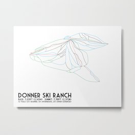 Donner Ski Ranch, CA - Minimalist Trail Map Metal Print