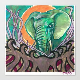Elephant abstract in watercolor Canvas Print