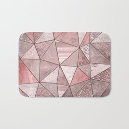 Soft Pink Glamour Gemstone Triangles Bath Mat