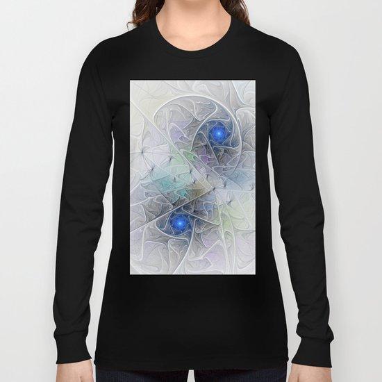 Little Blue Spirals Fractal Long Sleeve T-shirt