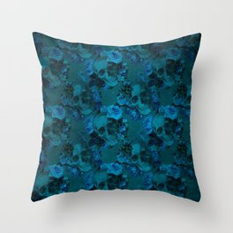 Blue Floral Skulls Throw Pillow