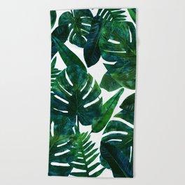 Tropical Nature Monstera Watercolor Painting, Botanical Jungle Dark Palm Illustration Beach Towel