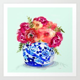 Peonies in Chinoiserie Ginger Jar Art Print