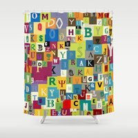 alphabet Shower Curtains featuring Alphabet by Rceeh
