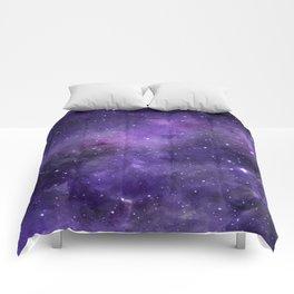 Purple Watercolor Space Pattern Comforters