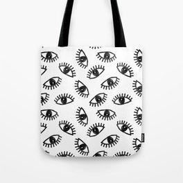 Eyes linocut black and white minimal eyes carving pattern Tote Bag