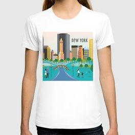 New York City, New York - Skyline Illustration by Loose Petals T-shirt