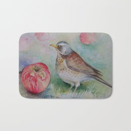 Fieldfare Bird with red apple Wildlife Songbird Fall Illustration Watercolour Painting Bird decor Bath Mat