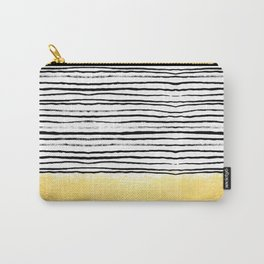 Blaire - Brushed Gold Stripes - black and gold, gold trend, gold phone case, gold cell case Carry-All Pouch
