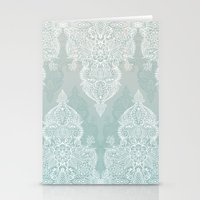 moroccan Stationery Cards featuring Lace & Shadows - soft sage grey & white Moroccan doodle by micklyn