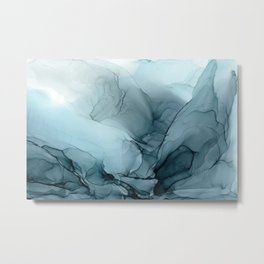 Blue Ocean Fog Calming Abstract Metal Print