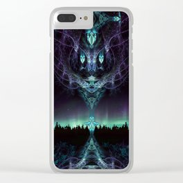 Midnight Aura - Fractal Manipulation - Manafold Art Clear iPhone Case