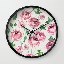 Painted Pink Ranunculus Pattern Wall Clock