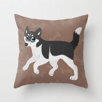 husky Throw Pillows featuring Husky by Sarah