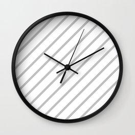 Diagonal Lines (Silver/White) Wall Clock