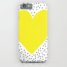 Yellow heart with grey dots around iPhone 6s Slim Case