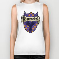 ravenclaw Biker Tanks featuring Ravenclaw Crest by AriesNamarie