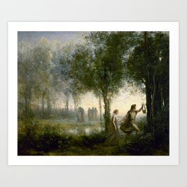 "Jean-Baptiste-Camille Corot ""Orpheus Leading Eurydice from the Underworld"" Art Print"