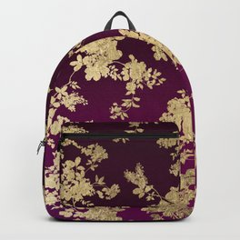 Chic faux gold burgundy ombre watercolor floral Backpack