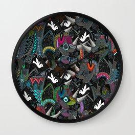 rhino party Wall Clock