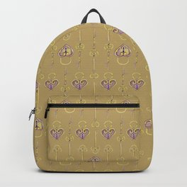 Purple and gold keys and padlocks antique style pattern Backpack