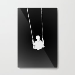 As He Swings Hope (Black and White) Metal Print
