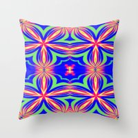 psychedelic art Throw Pillows featuring Psychedelic  by 2sweet4words Designs