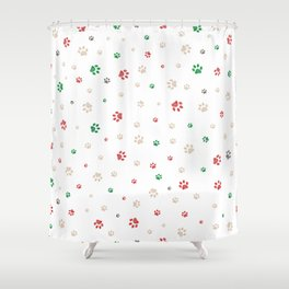 Trace doodle paw prints seamless pattern background Shower Curtain