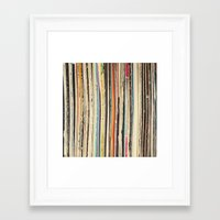 record Framed Art Prints featuring Record Collection by Cassia Beck