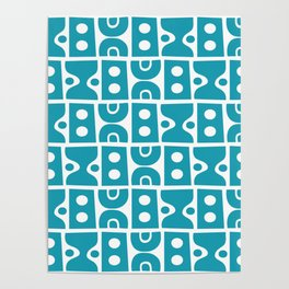 Funky Mid Century Modern Pattern Turquoise Poster