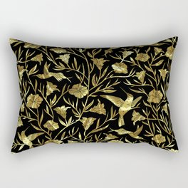 Black and gold foil humming birds & leafs pattern Rectangular Pillow