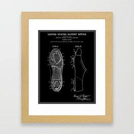 Baseball Cleat Patent - Black Framed Art Print