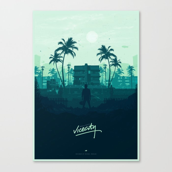 welcome back to vice city canvas print