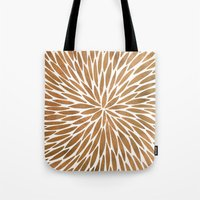 rose gold Tote Bags featuring Rose Gold Burst by Cat Coquillette