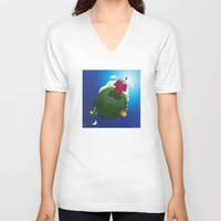 peanuts V-neck T-shirts featuring Green Peanuts World by SlyApparel