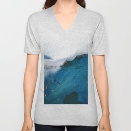In the Surf: a vibrant minimal abstract painting in blues and gold Unisex V-Neck