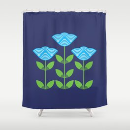 Three Japanese style blue flowers Shower Curtain