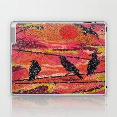 Birds on a Wire - Vintage Scrabble Tile Mosaic Laptop & iPad Skin