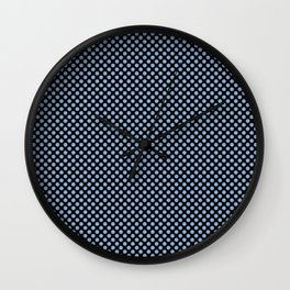 Black and Placid Blue Polka Dots Wall Clock