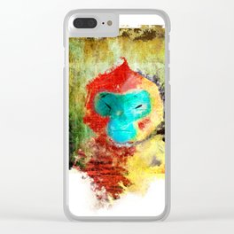 Blue Faced Monkey Clear iPhone Case