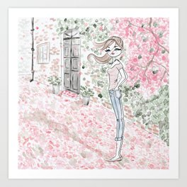 Sweet woman in a pink petal rain. Art Print