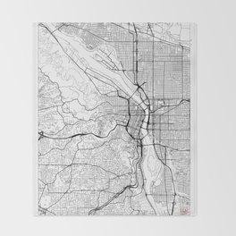 Portland Map White Throw Blanket