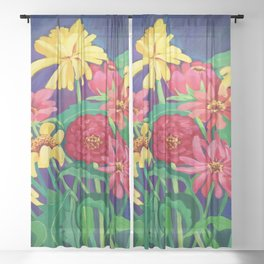 Zinnias Sheer Curtain