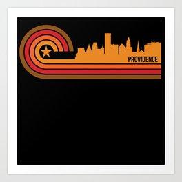 Retro Style Providence Rhode Island Skyline Art Print