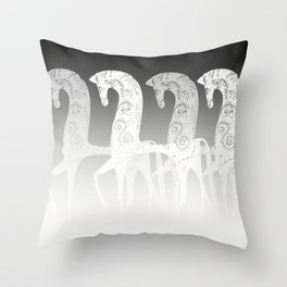 Horses in line - black and white - #society6 #buyart Throw Pillow