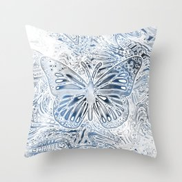 Monarch Butterfly in Pastel Blue Throw Pillow