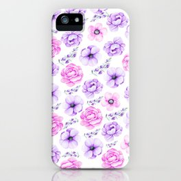 Modern hand painted purple pink watercolor floral pattern iPhone Case