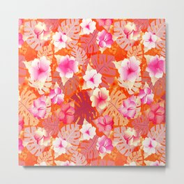 Tropical Print in Living Coral Metal Print